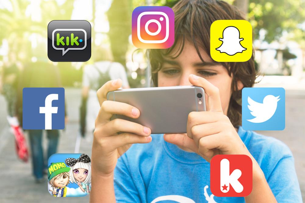 En gutt med smarttelefon omringet av ikoner som facebook, instagram, snapchat og twitter
