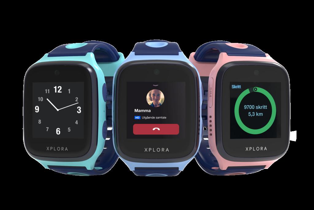 Xplora smartklokker i turkis, blå og rosa.