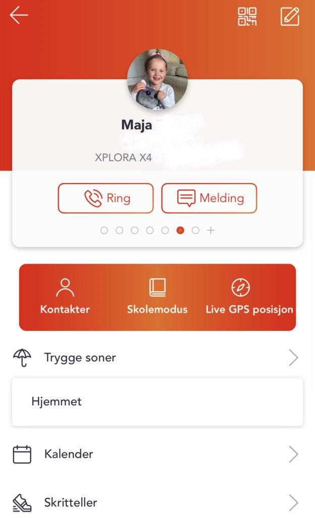 Skjrembilde fra Xploras foreldreapp. Her kan man ringe og sende melding til barnet ditt.