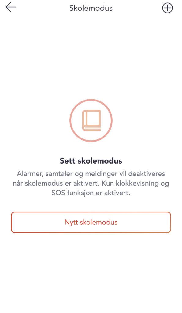Skjermbilde fra Xploras foreldreapp. Her kan man sette skolemodus, som deaktiverer alarmer, samtaler og meldinger