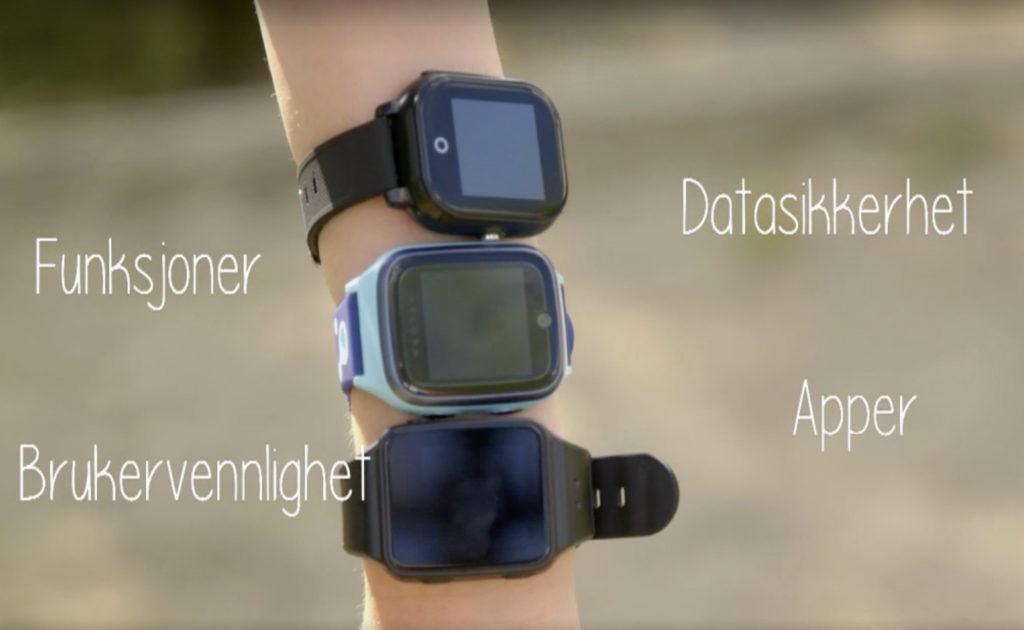Bilde av en arm som har tre telefonklokker til barn. Teksten beskriver testkriteriene: funksjoner, brukervennlighet, datasikkerhet og apper