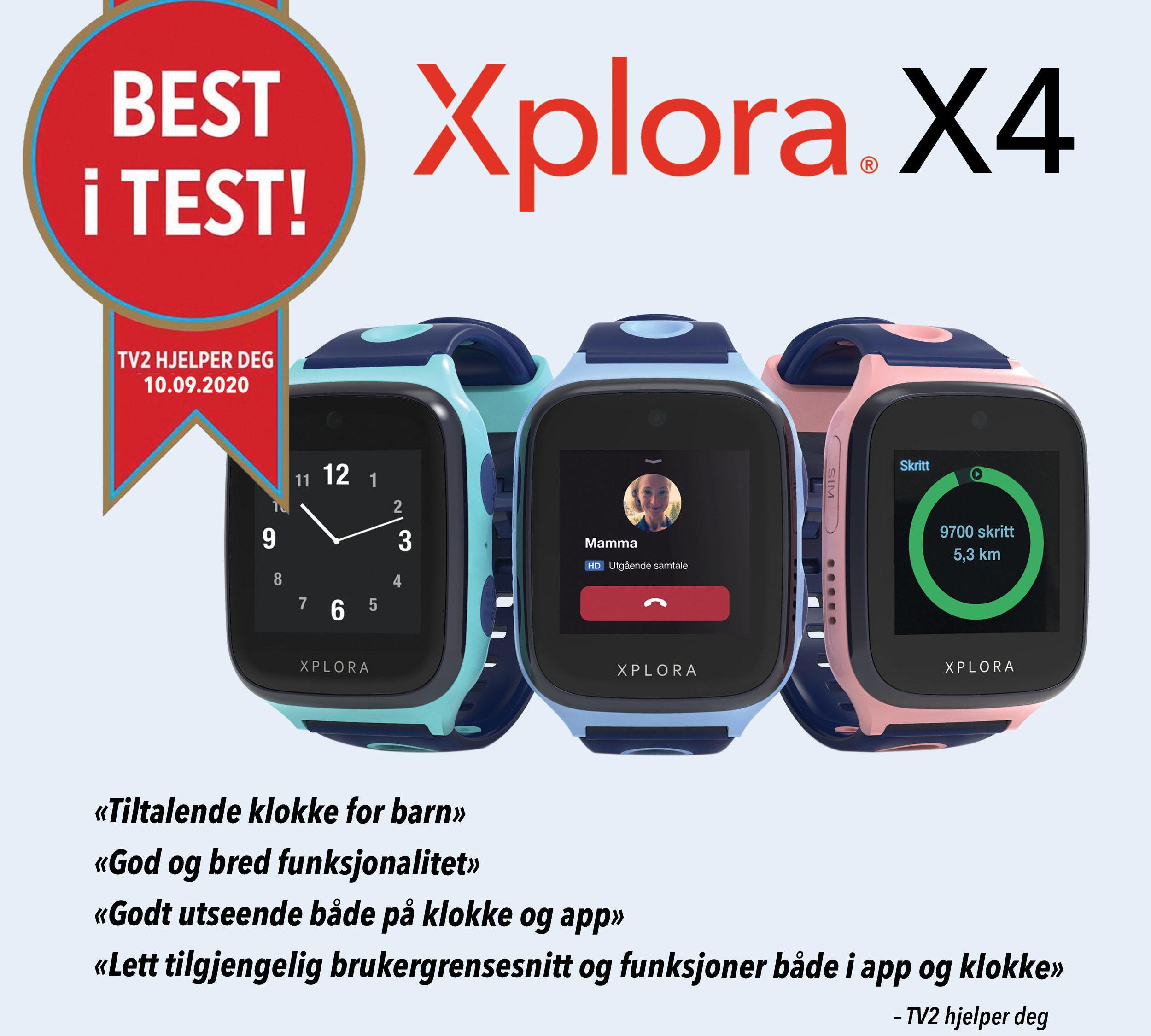 SLUTTSALG! Xplora X4 smartklokke for barn vant best i test hos TV2 hjelper deg!